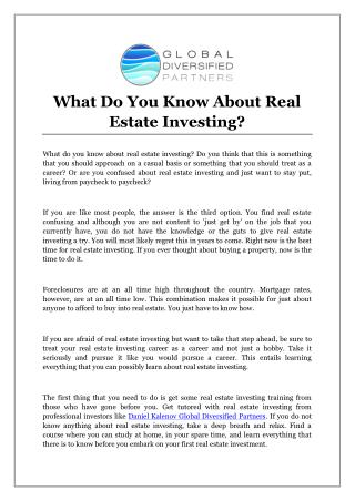 What Do You Know About Real Estate Investing?