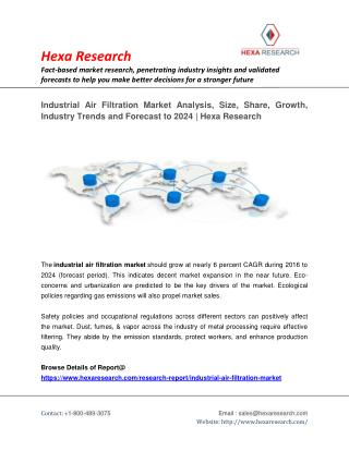 Industrial Air Filtration Market Size Share | Industry Report, 2024 | Hexa Research