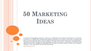 50 Marketing Ideas