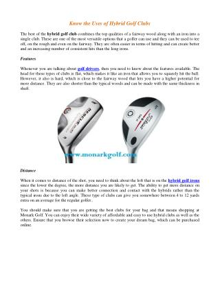 Know the Uses of Hybrid Golf Clubs
