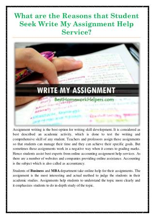What are the Reasons that Student seek Write My Assignment Help Service?