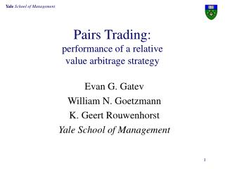 Pairs Trading:  performance of a relative  value arbitrage strategy