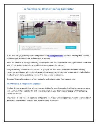 A Professional Online Flooring Contractor