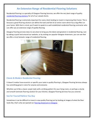 An Extensive Range of Residential Flooring Solutions