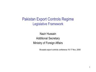 Pakistan Export Controls Regime Legislative Framework