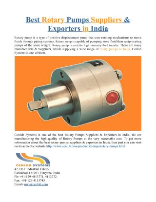 Best Rotary Pumps Suppliers & Exporters in India