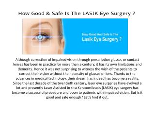 How Good & Safe Is The LASIK Eye Surgery ?