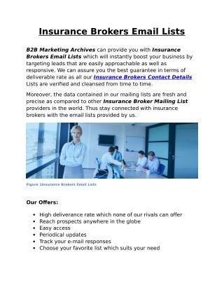 Insurance Brokers Email Lists - B2B Marketing Archives