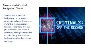 Momentsearch Criminal Background Checks