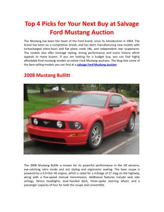 Top 4 Picks for Your Next Buy at Salvage Ford Mustang Auction