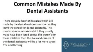 Common Mistakes Made By Dental Assistants