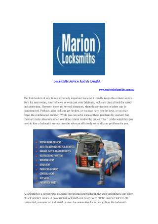 Locksmith Service And its Benefit