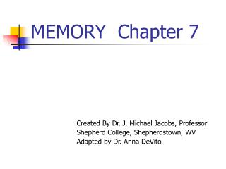 MEMORY  Chapter 7