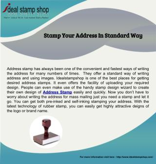Stamp Your Address In Standard Way