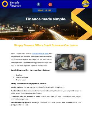 Simply Finance Offers Small Business Car Loans