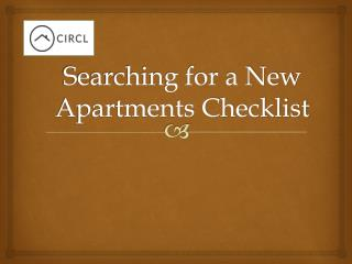 Searching for a New Apartments Checklist