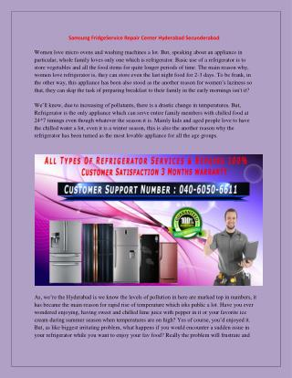 Samsung FridgeService Repair Center Hyderabad Secunderabad