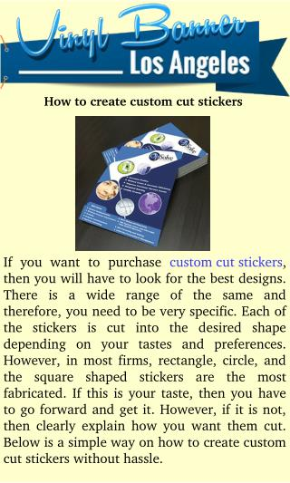 How to create Custom cut Stickers