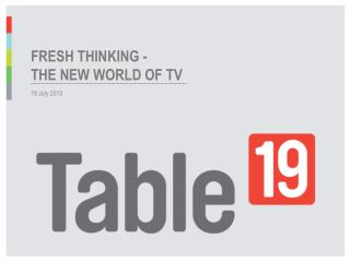 Fresh Thinking   the new world of tv