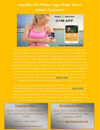 AppsMarche Fitness Apps Helps You to Attract Customers