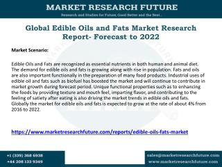 Edible Oils and Fats Market 2016 to 2022 Global Key Vendors Analysis, Import & Export, Revenue, Trends & Forecast