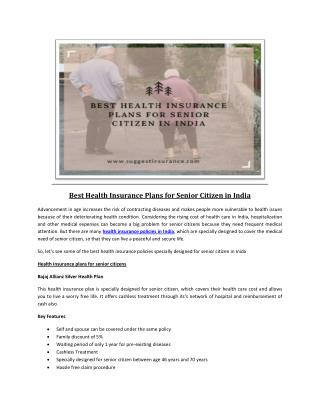 Best Health Insurance Plans for Senior Citizen in India
