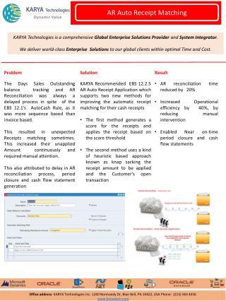 KARYA Technologies Case Studies - AR Auto Receipt Matching