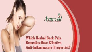 Which Herbal Back Pain Remedies Have Effective Anti-Inflammatory Properties?