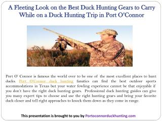 A Fleeting Look on the Best Duck Hunting Gears to Carry While on a Duck Hunting Trip in Port O'Connor