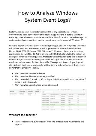 How to Analyze Windows System Event Logs?