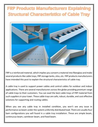 FRP Products Manufacturers Explaining Structural Characteristics of Cable Tray