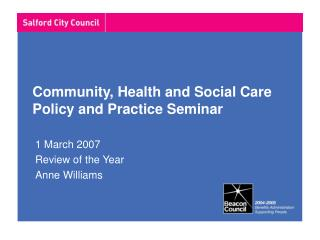 Community, Health and Social Care Policy and Practice Seminar