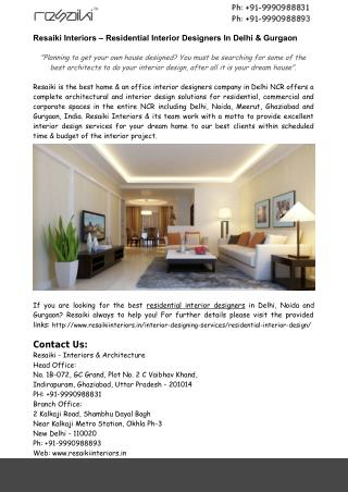 Residential Interior Designers Gurgaon