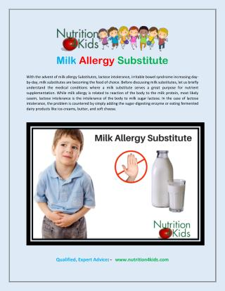 Milk allergy substitute