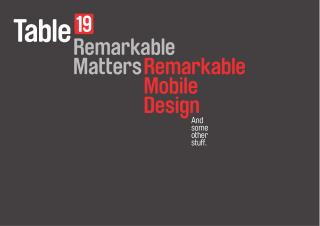 Remarkable Matters: Remarkable Mobile Design