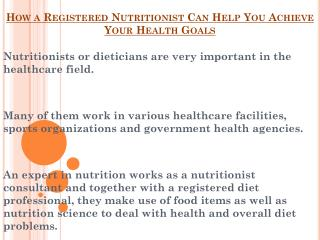 Registered Nutritionist - Help You To Achieve Your Health Goals