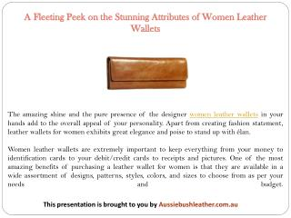 A Fleeting Peek on the Stunning Attributes of Women Leather Wallets