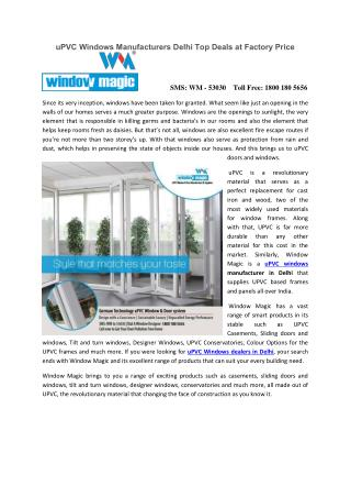 uPVC Windows Manufacturers Delhi Top Deals at Factory Price?