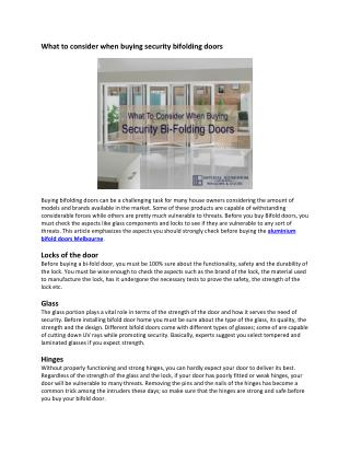 What to consider when buying security bifolding doors