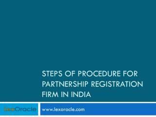 Steps For The Partnership Registration in India