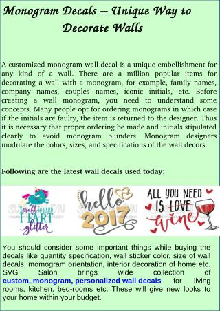 Monogram Decals- Unique Way to Decorate Walls