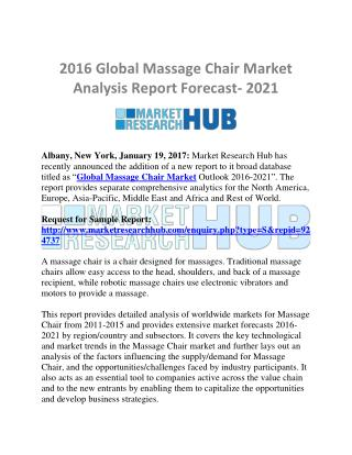 Global Massage Chair Market Analysis Report Forecast- 2021