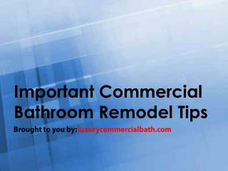 Important Commercial Bathroom Remodel Tips