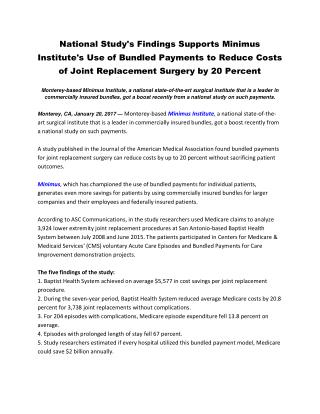 National Study's Findings Supports Minimus Institute's Use of Bundled Payments to Reduce Costs of Joint Replacement Surg