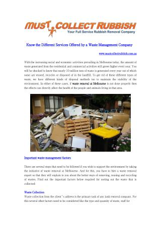 Know the Different Services Offered by a Waste Management Company