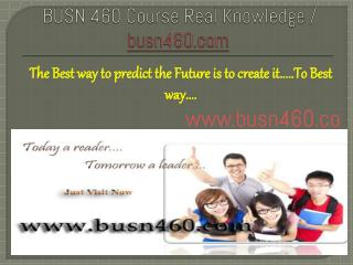 BUSN 460 Course Real Knowledge / busn 460 dotcom