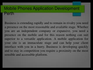Mobile Phones Application Development Perth