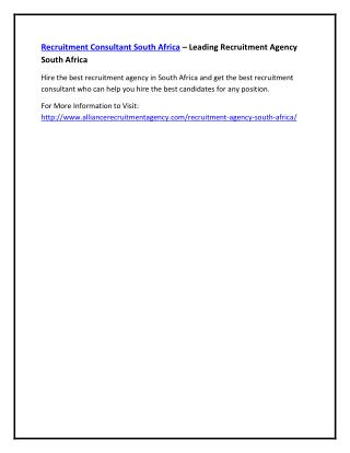 Recruitment Consultant South Africa – Leading Recruitment Agency South Africa