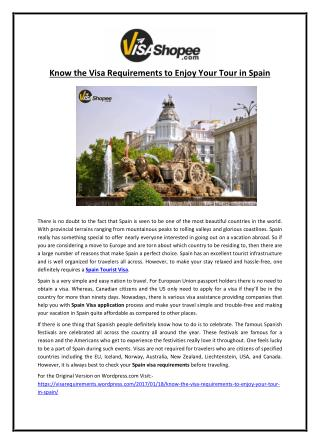 Know the Visa Requirements to Enjoy Your Tour in Spain