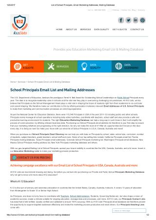 School Principals Email List and Mailing Addresses